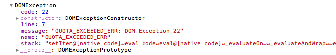 Exception in Safari